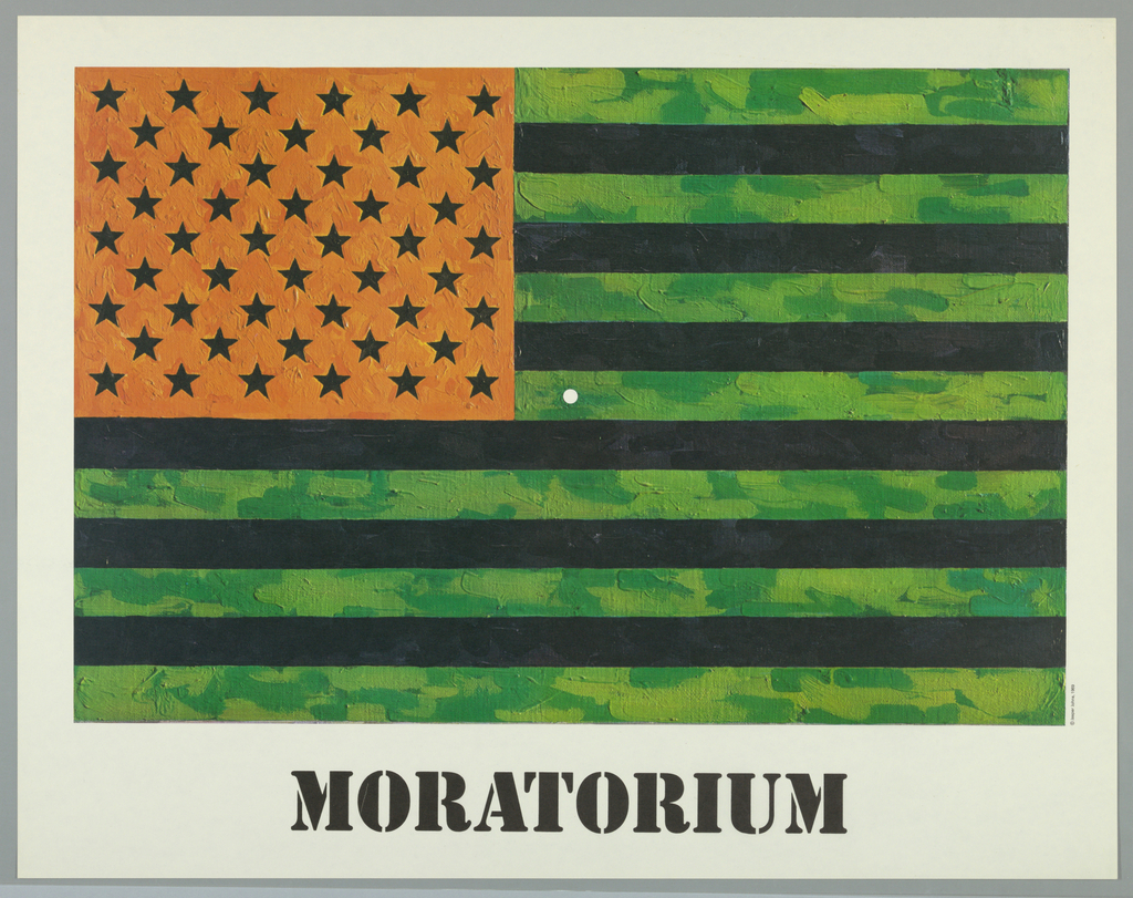 On white ground, an American flag with green and black stripes, and black stars on an orange ground, the application of paint visible. A small white circle at center. Below, in black printed text: MORATORIUM