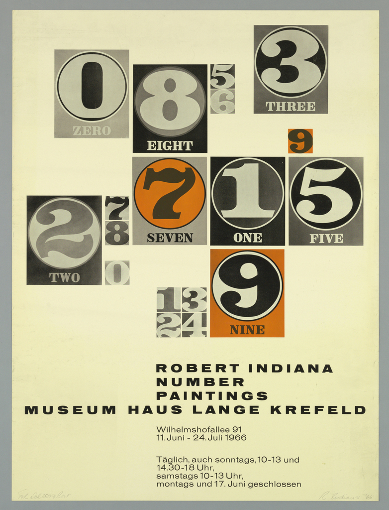 Poster, Exhibition Poster for Robert Indiana, Number Paintings: Museum Hans Lange Krefled