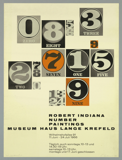 "Art exhibition poster reproducing the artist's ""'Number Paintings 0-9"" (in a set of small and large images in gray and orange tones).    Text in black  at bottom."