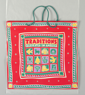 """""""Traditions celebrated in America"""" in yellow on red glossy  background; Christmas motifs throughout."""