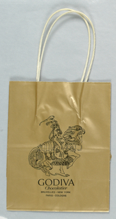 Gold bag with store name and locations in various cities imprinted in black, lower center.  Black line drawing of Lady Godiva on horse, center.