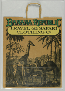 "Drawing of African landscape and giraffe, camel and deer surrounded by trees in black on light brown background. ""BANANA REPUBLIC"" imprinted in green; ""Travel & Safari/ Clothing Co"" imprinted  in black on yellow background."