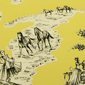 "Based on a toile format this design contains landscape vignettes of stereotyped views of African-Americans and Harlem. The scenes include a couple dancing to a boom box, another couple eating fried chicken and watermelon in a picnic setting, and a group of girls playing ""Double Dutch"" with the jump rope. Printed in black and yellow on a white ground."