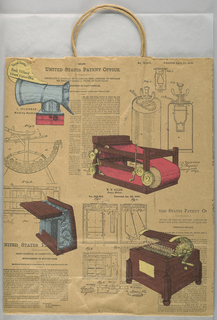 "Reprinted historic pages showing printing machine and other types of inventions with diagrams and text. Side panels: ""Our American Heritage, Presented by McCurdy's."""