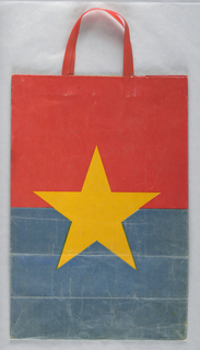 Red top half and blue bottom half with large yellow star in center.