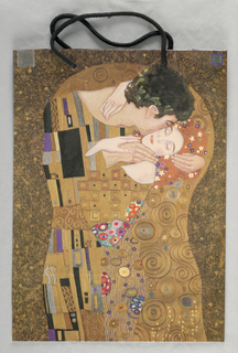 """Reproduction of Gustav Klimt's painting, The Kiss, on purple background. Side panels: """"HOMAGE/TO/GUSTAV/KLIMT"""" in gold on purple background."""