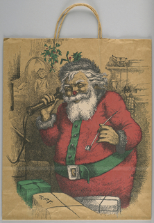 Brown bag with drawstring in dark red and green.  Santa Claus smoking and on phone, based on original of  Santa by Thomas Nast. Facsimile signature of Thomas Nast. Side panels: illustrations of toys.