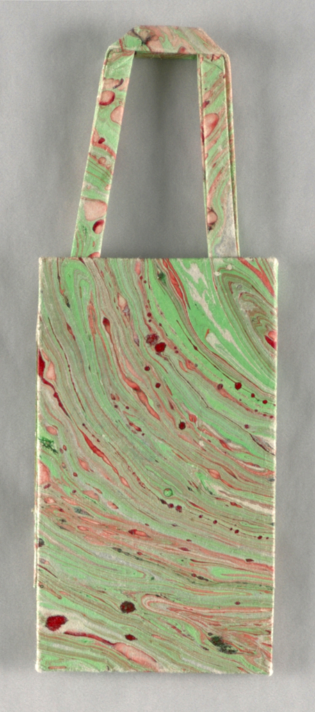 Marbleized bag in green, pink, and red.