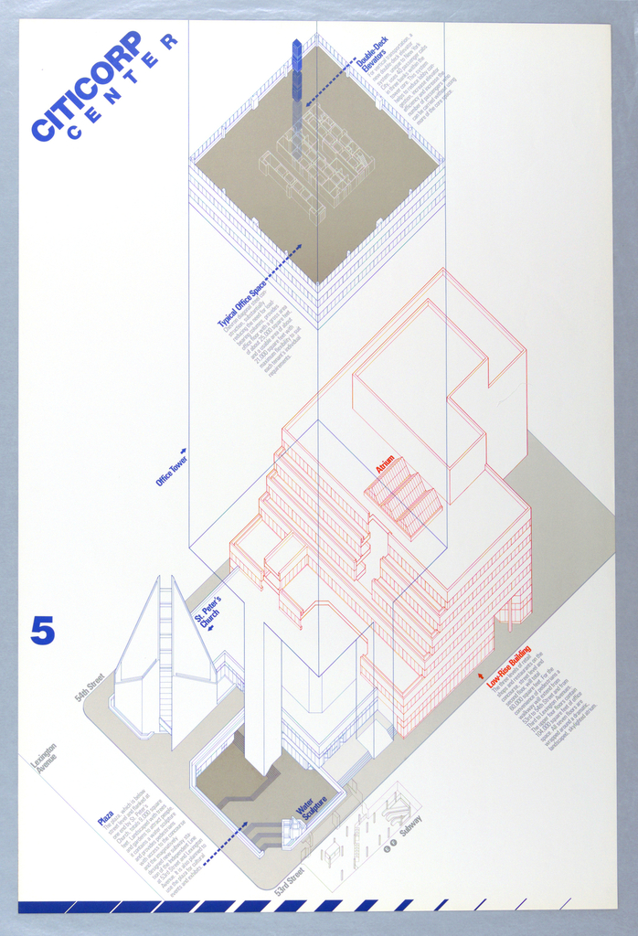 A schematic elevation of the proposed Citicorp Center building is presented from above and delineated in orange, blue and gray lines.  Pedestrian walkways, at top deck, courtyard and sidewalk are presentedin solid gray tones. Lettering in blue, orange and gray.  At upper left corner in blue block letters: CITICORP / CENTER and at lower left on edge in blue the number 5. Two paragraphs of text in blue at uppercenter section.