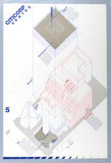 The poster consists of an axonometric architectural drawing of the proposed Citicorp Center building, presented from above and delineated in orange and blue lines. Pedestrian areas, including a design for office space, a plaza, and a surrounding sidewalk are presented in solid shades of grey. Printed text appears throughout in blue, orange, and grey. The design includes printed descriptions of double-deck elevators (upper center), typical office space (upper center), the plaza (lower left), and a low-rise building (lower right). Printed in blue block letters, upper left corner: CITICORP / CENTER; lower left, at edge: 5.