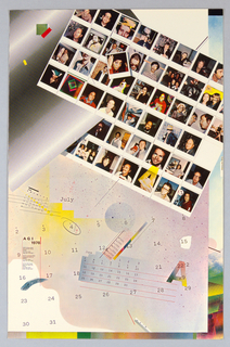 Poster design is a montage of reproductions of polaroid color portraits arranged in a grid, set at an angle at upper right quadrant of the sheet, balanced by a large calendar for the month of July at the bottm. Smaller calendars for May and June, printed only in line and numbers, seem to float on the design. At upper left, a diagonal section of black dots on white reference the designer's tonal Ben-Day sheets. The lower section is speckled with blue, red and yellow, and letters, numbers, lines and text hover, creating a three dimensional depth.