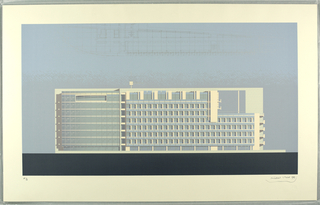 This elevation in bright blue, taupe and gray (colors to be checked against original object) shows, at the left and middle, the facade at the rear of the administrative wing, facing the park with the end of the studio eastern wing on the right.  The building, which is white, is shown in noon light.  The plan of this section of the building is at top edge of the sheet.