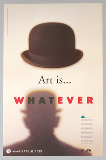 Out-of-focus bowler hat above out-of-focus silhouette of upper torso of featureless man in bowler hat (homage to Magritte); brown, cream, black, red, white.