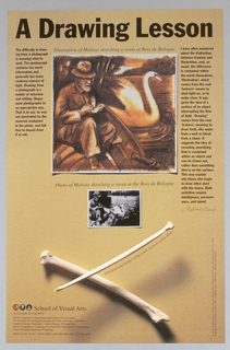 """At top: drawing of """"Matisse sketching a swan at the Bois de Bologne""""; below that: photograph on which drawing was based; at bottom: """"X"""" of crossed white swan bones; brown background."""