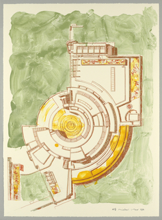 Ground plan in reddish brown showing partial view of the Center for the History of Art and Humanities at lower right and    at left and bottom.  Superimposed on the Museum at lower left are series of geometric square overlays of different scales that determine the relationships of building contours and masses.  Area of buildings are highlighted in mustard-yellow brush strokes:  garden areas, not designed by Meier are indicated with green brush strokes.