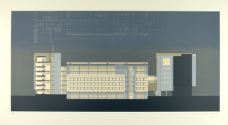 This elevation, in pale blue, brown and yellow (colors to be checked against original object), shows, at the left, the end of the eight-story administrative wing and the connecting entry lobby and in the middle the glass curtain wall of the sunken eastern television studio wing.   Lightly described above is this view in plan. The white building is shown in evening light.