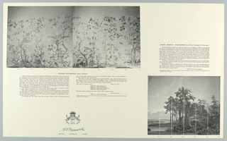 Diament Collection Scenic Portfolio; black and white and color photographic illustrations of scenic wallpapers. The scenics include: Les Grandes Chasses, U.S.A. War of Independence, Classic Landscape, Italian Landscape, Views of Sicily, Ionian Landscape, Banks of the Bosphorous, The Ruins - Port of Goats, Isola Bella, Scenic America, Zones Terrestres and Decor Chinois. Other scenic papers are also included, along with room installations. The scenic miniatures are enclosed in a black portfolio with a large gold Diament label.