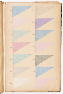 "Oversized sample book with two columns of fabric swatches in triangular wedge shapes. Samples have numbers stamped next to them in dark blue ink. Samples are mainly woven stripes, plaids and solids in white or pale to medium shades. Some have simple figured, striped or geometric grounds. Many swatches are stamped ""OUT"" in dark ink."