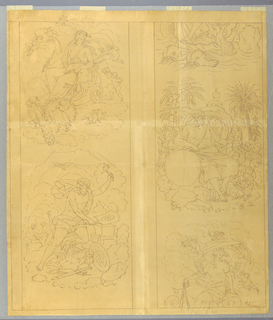 First preliminary sketch (full-scale) for a textile, for a cartoon depicting the Four Elements. The design is composed of four vignettes; separated in pairs vertically. The vignettes show: upper left, Juno seated in a chariot drawn over the clouds by peacocks and ccompanied by amoretti (personifying Air); lower left, Vulvan forging armor (personifying Fire); center right: Saturn seated in a landscape holding a cornucopia and beside him a globe, quartered (personifying Earth); lower right (with partial repeat shown in upper right), Venus borne over the water on a shell drawn by dolphins, attended by amoretti (personifying Water).