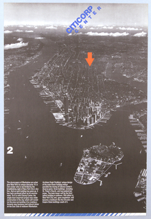 A very dark, black and white photographic reproduction of an ariel view of Manhattan Island looking North. A large orange arrow is placed over the site of the proposed Citicorp Center complex. At upper center in blue on angle
