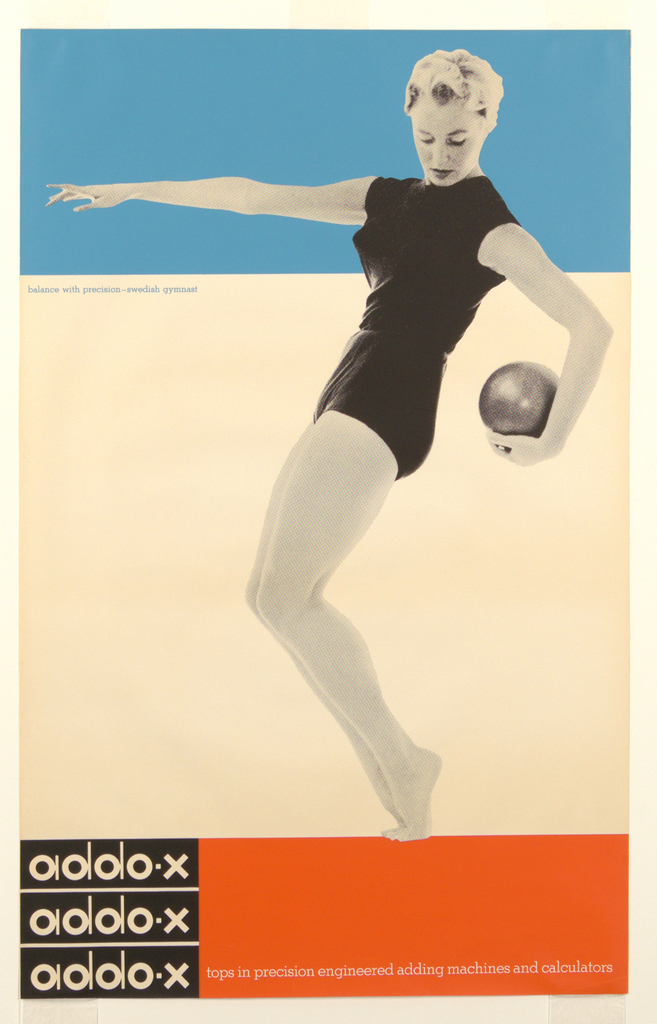Poster divided into three registers: blue at top, white at center and black/red at bottom. At right, a black and white photograph of a woman, represented full length, wearing shorts and a top streches her arm across the blue section of the poster at top. She is balanced on her toes, with her knees bent and carrys a large ball behind her. At lower left the title is repeated three times, printed in white on a black square. The Ben-Day dots of the graphic process are prominently visible on the figure.
