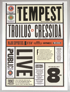 In two parts; On a white ground, reminiscent of a ticket, in black text: SHAKESPEARE IN THE PARK / FREE / WILL / THE TEMPEST / TROILUS & CRESSIDA. Below: PUBLIC THEATER / LIFE; 8PM.