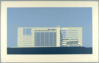 This elevation, in blue, purple and taupe (check colors with original object), shows (at the left and center) the eastern television studio wing, the curving end of the north-western administrative wing (at the right) and the three-story glass entry lobby connecting the two.  The white facades are depicted in afternoon light. To confirm to city height restrictions the right section of the studio wing (seen at center) was partially sunken into the ground.