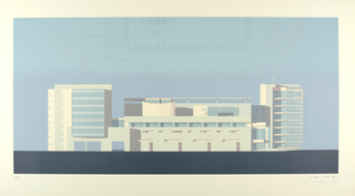 "This elevation, in pale blue and gray (check colors with original object), facing the Seine, shows the western facade of the eight-storied white administrative wing of the Canal+ building as seen in the morning light.  The curving section on the left is a curtain office wall made of clear, translucent and opaque white glass. Above the elevation is the western wing in plan.  According to Meier, this elevation, with its large antenae, open terrace and curved wall, recalls a great aerodynamic ship on the Seine ""whose only movement is the changing light."""