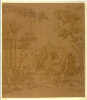 Print from Copper Plate.  The scene shows a male flutist seated on a section of masonry, before whom stands a shepherdess; nearby is a dog, some sheep and a reclining cow. At the left is a classical ruin and in the right foreground, a monument.