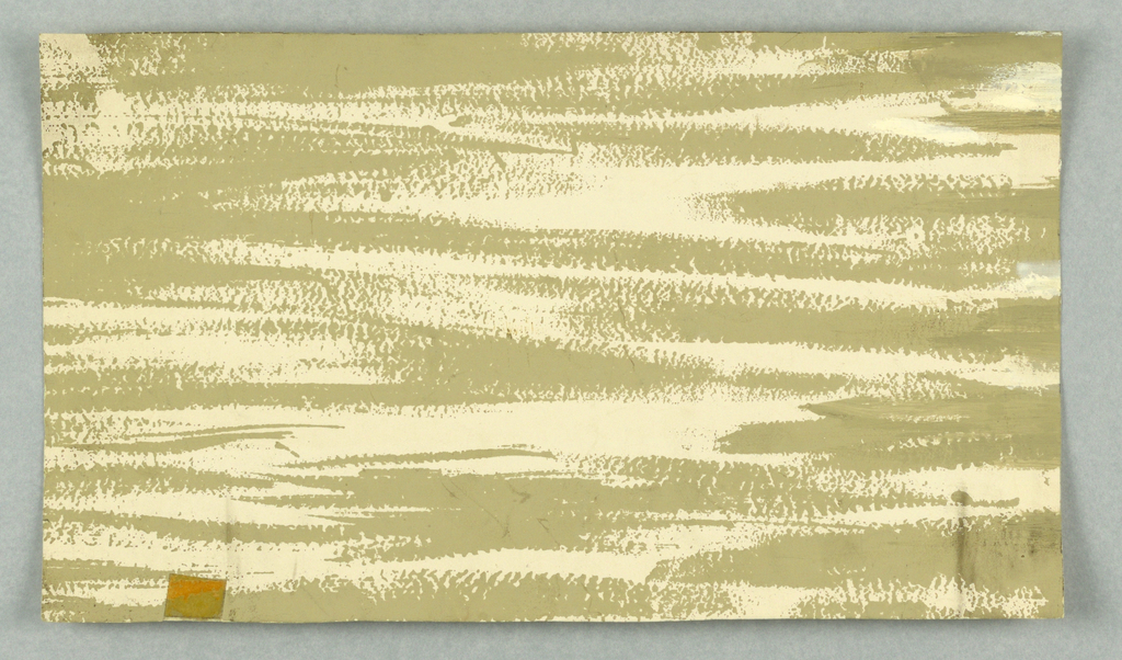 vertical rectangle - textured design of rough horizontal brush strokes in white and sand color - three pieces held together with scotch tape [see condition note].