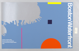 Poster features a silhouetted map of Boston; geometric shapes. In white ink, right side: Boston Waterfront.