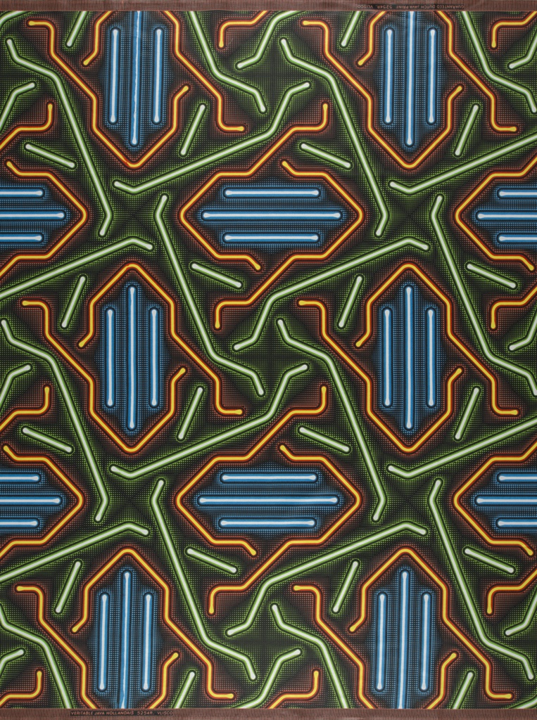Irregular star-shaped pattern of glowing tupes in blue, green and orange on a black ground.