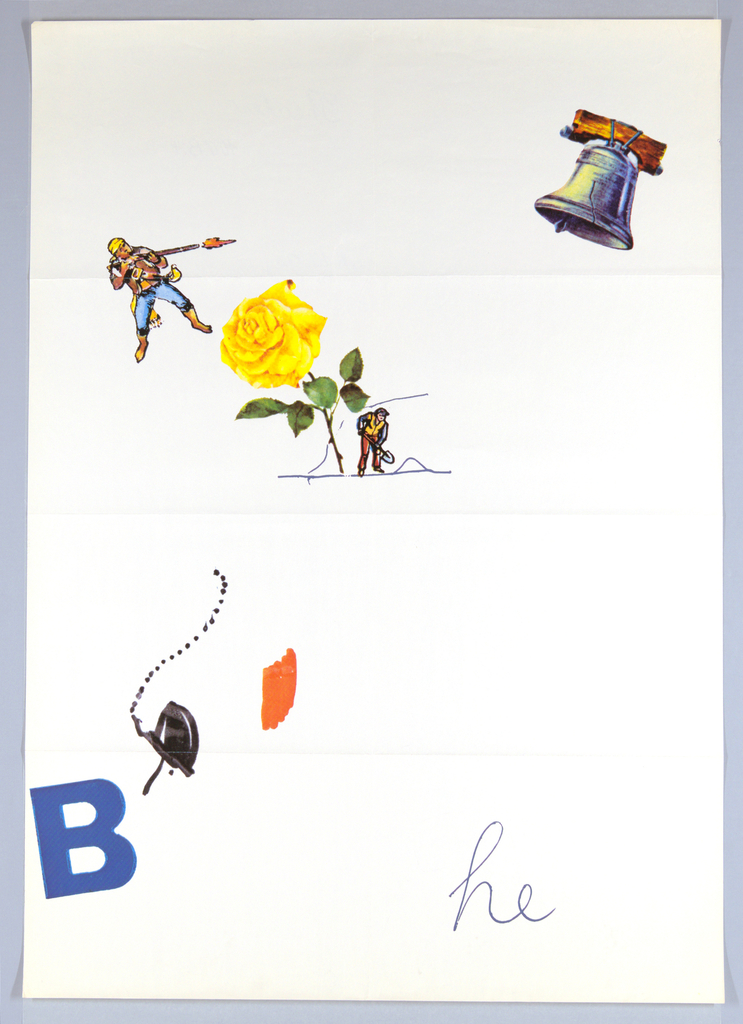 "Randomly arranged: brightly-colored images of the Liberty Bell: a patriot firing a long rifle; a large yellow rose next to a figure of a man with a spade -- all connected by scattered dotted lines and bright areas of color.  At lower left, a large letter B (in blue); the letters ""he"" (also in blue), at lower right. This poster design is one in a series of four, each with additional elements."