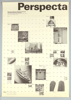 Poster design incorporating calendar of events with selected small photographic images of notable architectural structures illustrating the lectures presented.  The photographs are superimposed on a systematic grid of numbers ranging from 1 to 372 evenly spaced in rows.  The photographs vary in size and are labled with the title of the corresponding lecture or presentation.