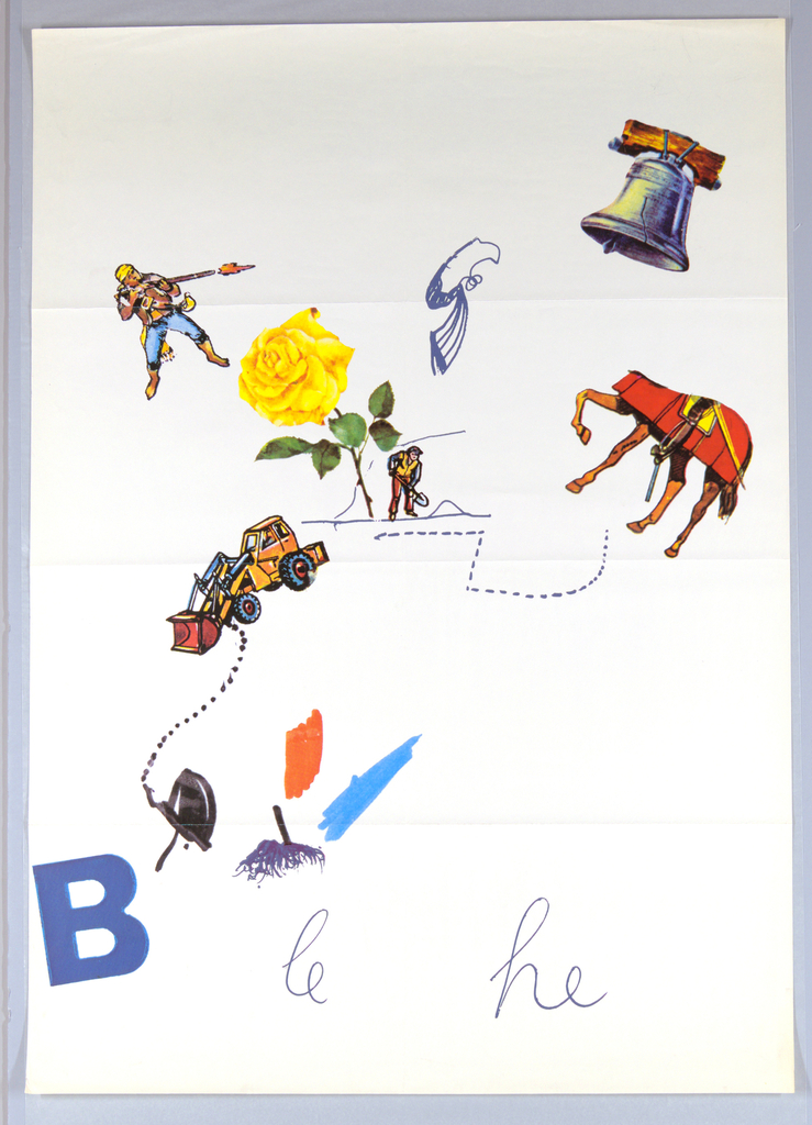 """Randomly arranged: brightly-colored images of the Liberty Bell; a patriot firing a long rifle; a large yellow rose next to a figure of a man with a spade --all connected by scattered dotted lines and bright areas of color. In addition, a large dump truck and several more brightly colored areas have been incorporated into the design.  At lower left, a large letter """"B"""" (in blue); the letters """"he"""" (also in blue) at lower right, but with the addition of the letters """"le"""" inserted at bottom of sheet. This poster is related to another poster (see 1997-19-187), but with additional images and letters."""