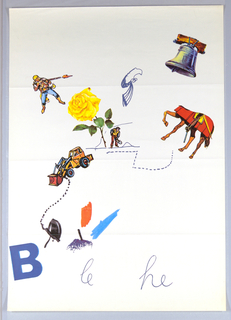 "Randomly arranged: brightly-colored images of the Liberty Bell; a patriot firing a long rifle; a large yellow rose next to a figure of a man with a spade --all connected by scattered dotted lines and bright areas of color. In addition, a large dump truck and several more brightly colored areas have been incorporated into the design.  At lower left, a large letter ""B"" (in blue); the letters ""he"" (also in blue) at lower right, but with the addition of the letters ""le"" inserted at bottom of sheet. This poster is related to another poster (see 1997-19-187), but with additional images and letters."