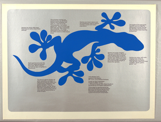 Poster features a blue silhouette of a gecko on a light blue ground, with blocks of text surrounding.
