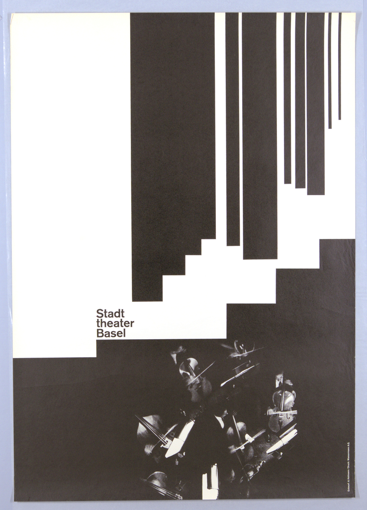 The upper third of the poster design consists of vertical black strips of varigated width ending in a step-like progression below.  The lower portion of the design consists of a photographic image of the bass section of an orchestra, taken from above. The high contrast resolution of the photograph highlights the music stands and instruments while the dark suits of the musicians merge with the black background.