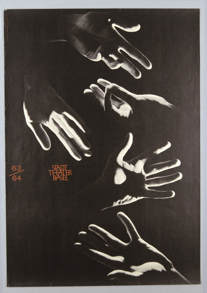 A large black and white photographic montage of five hands gesturing in a strong raking light against a solid black background.  At left center in large red-brown numbers, the date of the production, 63/64, and in sans serif letters the name of STADT / THEATER / BASEL, alligned with a left justification.