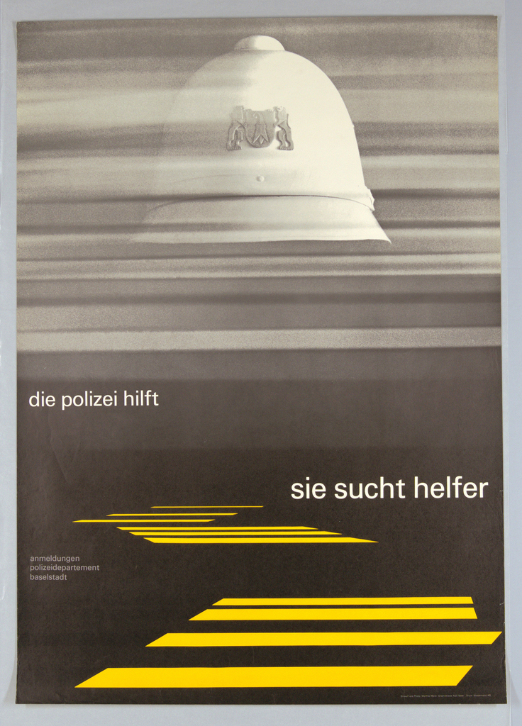 Graphic design incorporating a grainy black and white photographic image of a blurred helmet placed against a series of striated gray bands, and a matte black lower portion with a series of horizontal jagged stripes that appear to be receding toward a horizon line. Across lower section in white letters: die polizei hilft   sie sucht helfer.