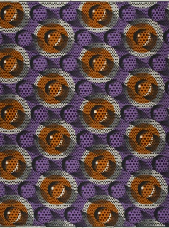 Pattern of gray and brown dots on a purple background, with the illusion of glass marbles sitting on the surface.