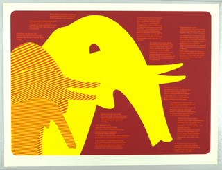 Silhouetted yellow elephant and striped red and yellow elephant on maroon ground with blocks of surrounding red text.