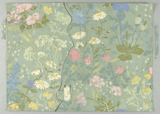 horizontal rectangle - design of daisies, clover, thistles and other wildflowers on pale blue background - see condition note.