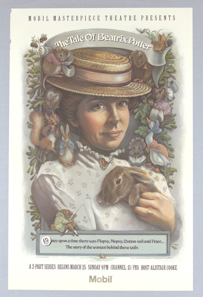 """Poster, Mobile Masterpiece Theatre Presents """"The Tale of Beatrix Potter"""", 1984"""
