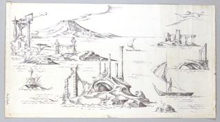 Drawing, Wallpaper Design: Bay of Naples