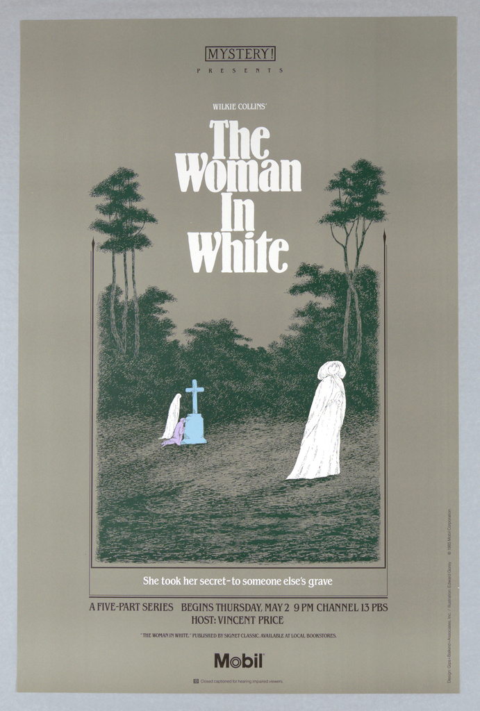 """Poster, Mobile, Mystery! Presents Wilkie Collins' """"The Woman in White"""", 1985"""
