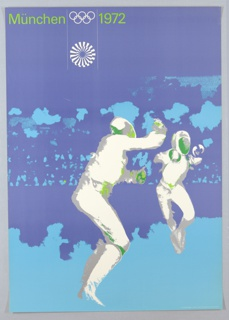 Poster for Munich Olympics featuring image of fencers.
