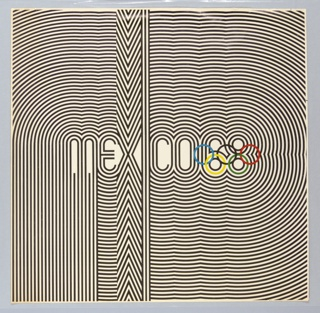 Square format poster with black print on white ground designed for the 1968 Olympics in Mexico City, Mexico. At center, stylized black typography spells: MEXICO68. From this central text, radiating black lines follow the curves and lines of the central letters, forming an op-art style bold graphic pattern that completely fills the composition. The lower circles of the numbers 6 and 8 form the two lower circles of the interlocking Olympic rings, shown in blue, black, red, yellow, and green.