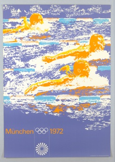 Poster for the Munich Olympics featuring an image of three swimmers in the midst of a butterfly race. The image has been overlaid brightly saturated colors so that each of the three swimmers are rendered in bright orange, and the pool and water is rendered in purples and blues. At the bottom left corner, in orange sans-serif text: Müchen [Olympic Rings in white] 1972. Directly below the Olympic rings, the logo for the Munich Olympic games in white, an abstracted sunburst.