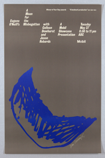 On silver ground, a sketchy image of a crescent moon in blue near the bottom of the composition. Printed white text at top describes the details of the event.